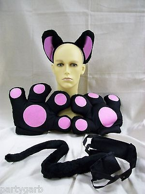 Black & Pink Cat Set Jumbo Paws Tail Ears Cheshire Kitty Cosplay Sassy Panther