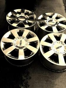 LINCOLN NAVIGATOR FACTORY OEM 18 INCH CHROME CLAD ALLOY WHEEL SET OF FOUR WITH SENSORS.
