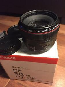 Canon 50mm F1.2 L Prime Lens, MINT condition, Amazing lens