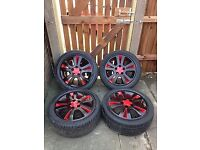 Great condition alloy wheels, 5 stud, been resprayed, fit vauxhall