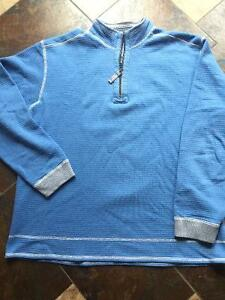 Blue/Grey Tommy Bahama Reversible 1/2 Zip Sweater