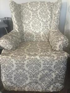 Wing back chair with slipcover