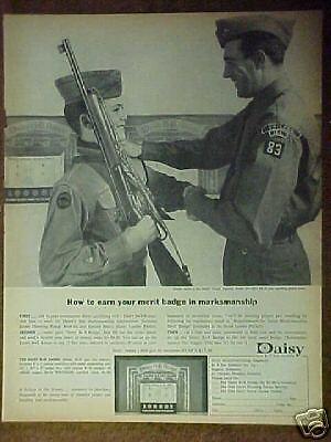 1963 Boy/Cub Scouts Memorabilia Merit Badges Daisy BB Gun Kids Toy Trade Ad