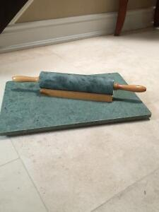 Cutting board and rolling pin- marble