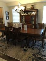 Oak Dining Table, 8 chairs and hutch