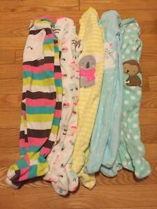 New Baby Girl 6mth Fleece Sleepers
