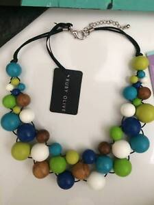 RUBY OLIVE (Brisbane designer) NECKLACE resin/wood beads NEW/TAGS Ashgrove Brisbane North West Preview