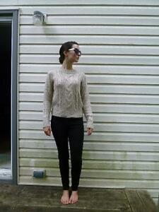 Comfortable Beige Cable Knit Sweater