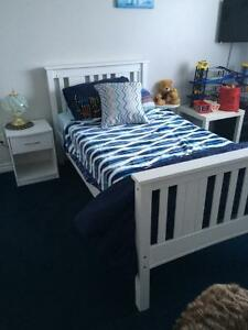 Single bed - with sheets, covering and night stand - Brand New