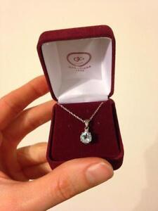 March birthstone sterling silver necklace- in box