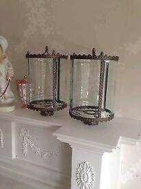 Pair Of Vintage Etched Glass lantern Light Shades Fittings french style