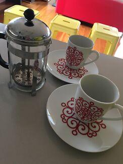 Tea Coffee Plunger Mug Plate Set
