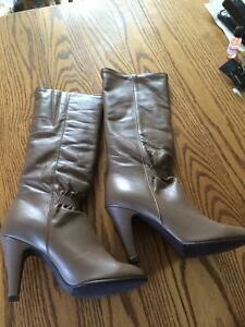 Ladies taupe leather dress boots