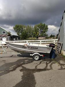 12' Misty River Boat with 15hp outboard