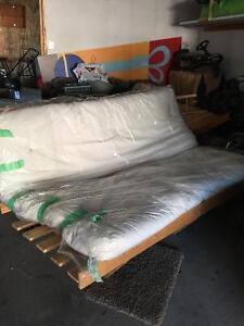 Queen size pine futon frame and mattress