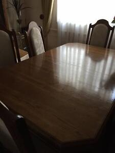 Oak Dining Table Set with Buffet & Hutch