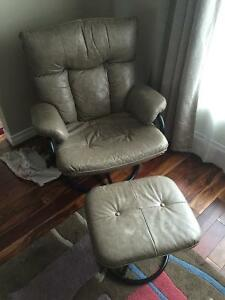 Leather Recliner w/ Stool Beige and Couch