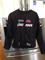 Women's icon motorcycle jacket and gloves