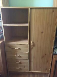 Small Wardrobe with Shelves and Drawers