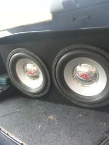 """trade 2 10"""" rockford fostgate subs and 2 amps for laptop or ipad"""