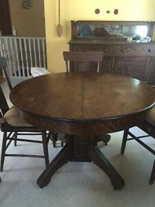 8 chairs, table, side buffet, 2 table leafs