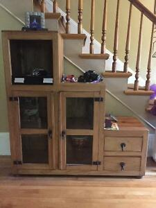 Solid Pine Display Cabinet