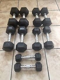 Cheap 32.5kg - 40kg Rubber Hex Dumbbell Set - Weights Gym