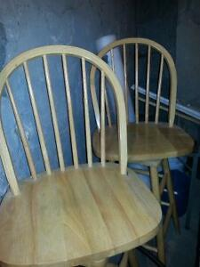 "Reduced- Set of Oak Bar Stools- seats swivel.  35"" high"