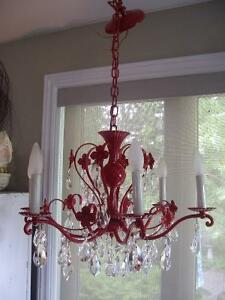 VINTAGE FIRE ENGINE RED METAL CHANDELIER