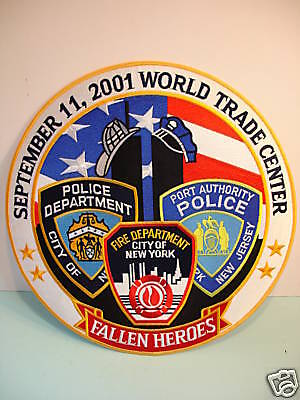 """Large 5"""" PATCH Fallen Heroes 9-11 Fire Police Dept. NEW"""