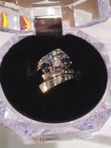 #1160 14K YELLOW GOLD DIAMOND & SAPPHIRE RING