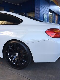 "20"" deep dish gloss black and chrome alloy wheels and tyres Holden BMW"