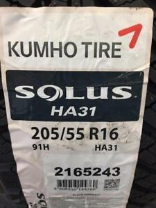 4 Brand New Kumho Solus HA31 205/55R16 All Season tires (with winter Mountain Snowflake) *** WallToWallTires.com ***