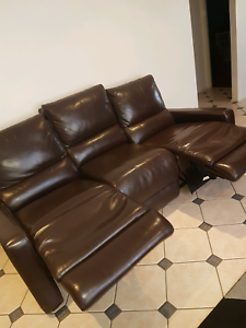 3 seather leather chocolate brown lounge with recliners Rooty Hill Blacktown Area Preview