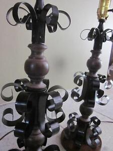 Vintage Gothic Style Wrought Iron Black Metal TABLE LAMP Cambridge Kitchener Area image 10