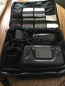 Sega game gear with case and six games