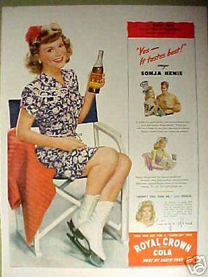 1944 Sonja Henie Ice Skating Star Royal Crown Cola~Yes It Tastes Best Print