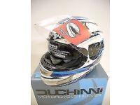Brand New Ex Demonstration Duchinni D429 Blue White Full Face Motorcycle Crash Helmet EC Approved XL