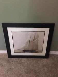 REDUCED - Classy Ship Art in Dark Wood Frames Regina Regina Area image 2