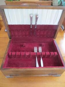 Silverware chest solid wood felt lined