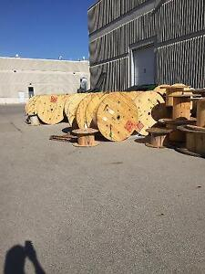 """2 Large Wooden Cable Reels 48"""" Diameter"""