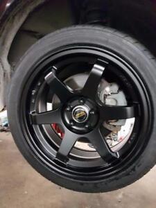 Scion FRS ft86 brz TE37 style 5x100 17x7.5 + 40 offset in matt black or gunmetal