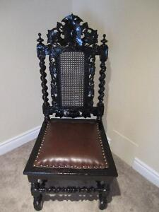 Antique Carved Black Forest Hall Chair for Home deco