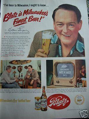 1951 Blatz Beer William Gargan Television Star Ad