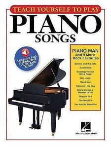 """Teach Yourself Play Piano Songs """"Piano Man"""" & 9 More Rock Fav by Hal Leonard NEW"""