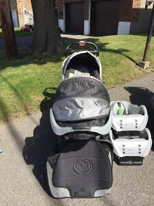 BABY TREND DOUBLE STROLLER & GRACO CAR SEAT SET - $100.00
