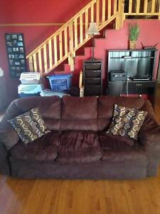 Brown suade couch