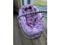Very Good Condition Baby Girls Disney Minnie Mouse Vibrate & Melody Bouncer Seat