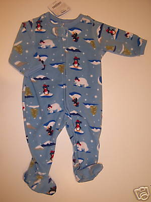 NWT Gymboree 3-6 Arctic Penguin Polar Bear Fleece Footy Sleeper Pajama Gymmies ()