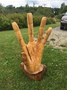 Large wooden hand carving